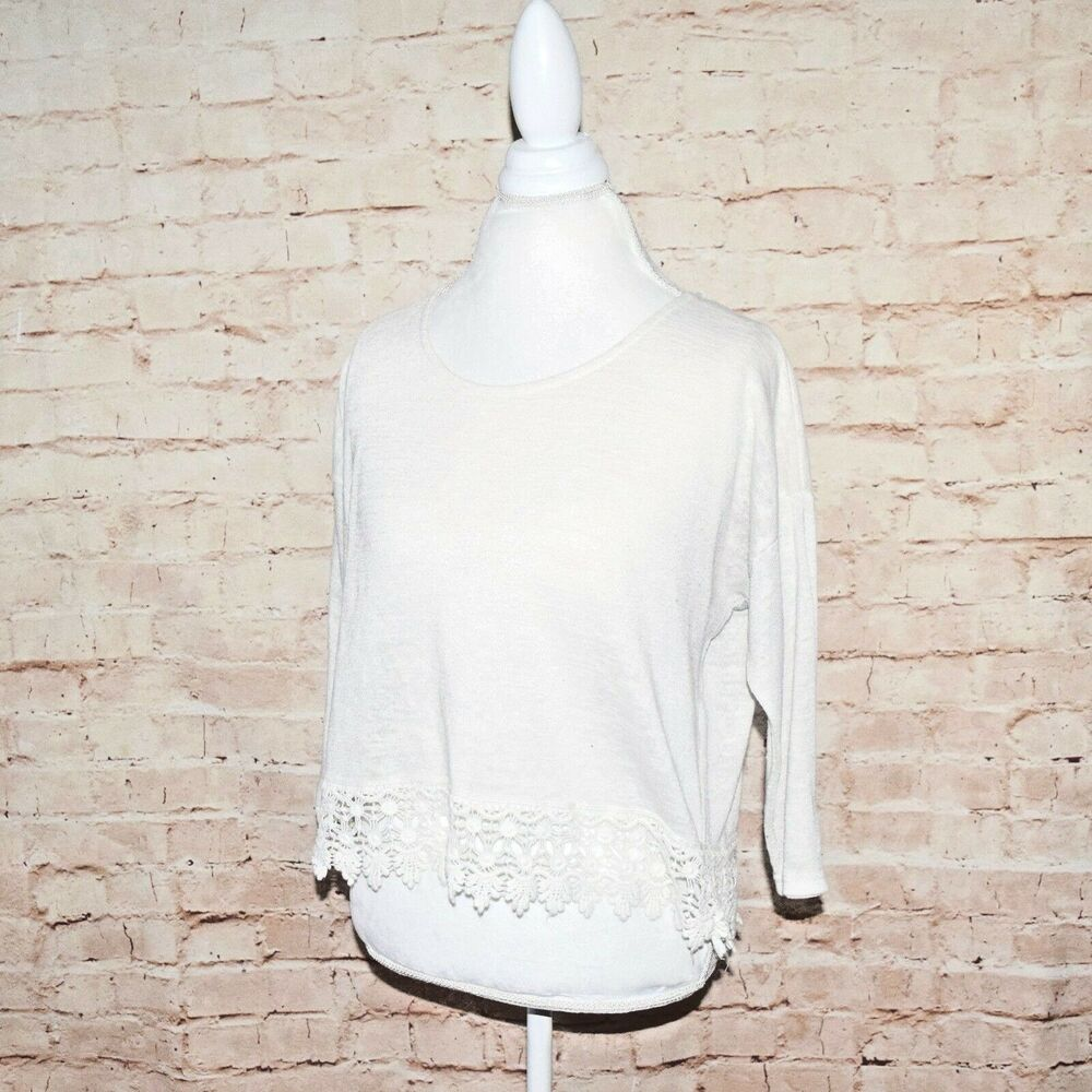 Forever 21 F21 Womens Boho Ivory Crochet Lace Trim Long Sleeve Top