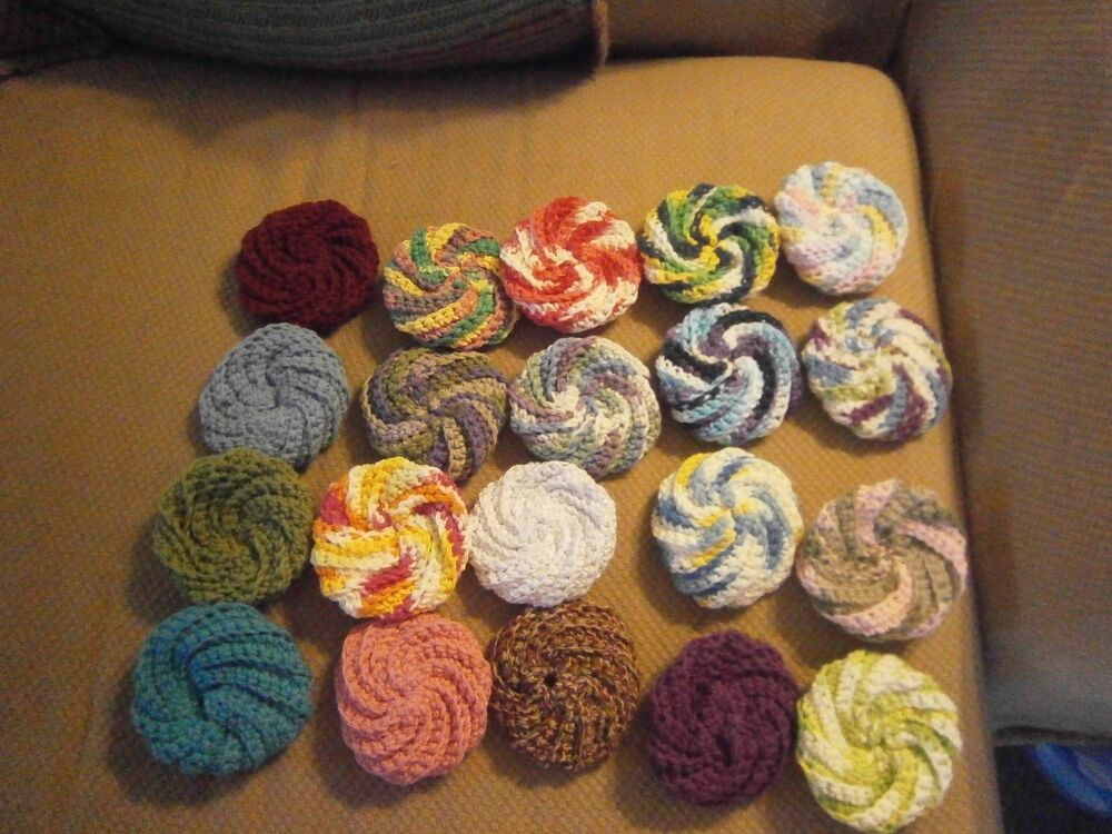 Hand Crocheted Spiral Scrubbies 100 Each Made To Order 100 Cotton