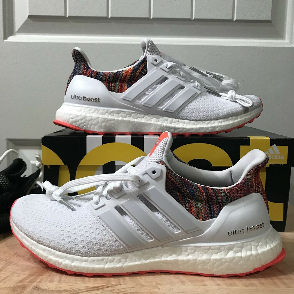 8e1823dcf3b Details about Mi Adidas Ultra Boost Rainbow 2.0 White Multicolor BY1756.  Size 8.5. DS