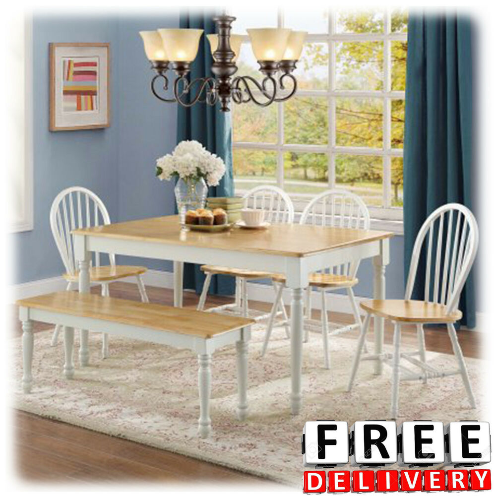 Details about 6 piece dining table chairs bench room furniture set wood modern contemporary