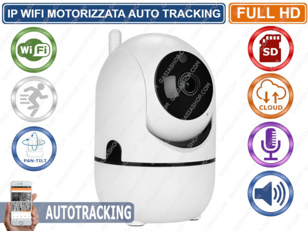 TELECAMERA IP MOTORIZZATA AUTOTRACKING WIRELESS WIFI REGISTRA SU CLOUD SD CARD