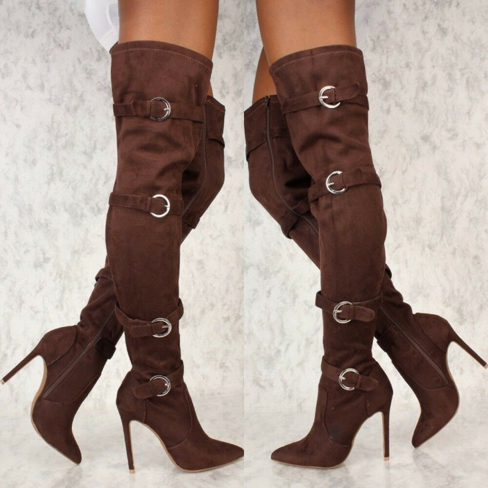4ebe2928f5d16 Details about Brown Slouch Pointy Toe Heels Over The Knee Buckle Thigh High  Boots Faux Suede