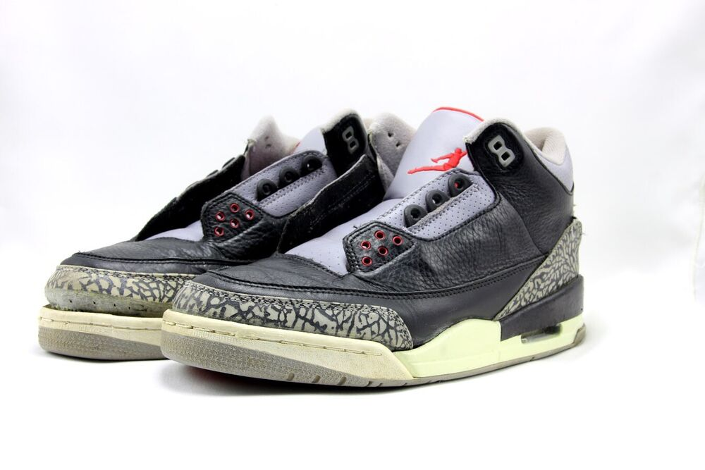 b9a2b6b427a520 Details about 2001 NIKE AIR JORDAN 3 III RETRO BLACK CEMENT GREY 136064-001  Size 11