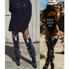 d4fbcac4538669 New Slouchy Embroidery Cowboy Western Over The Knee Thigh High Boots Chunky  Heel
