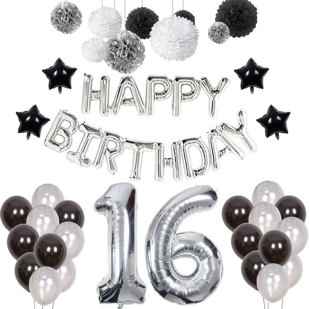 Details About 16th Birthday Decorations Happy Party Ballon Tissue Paper Pom Balls