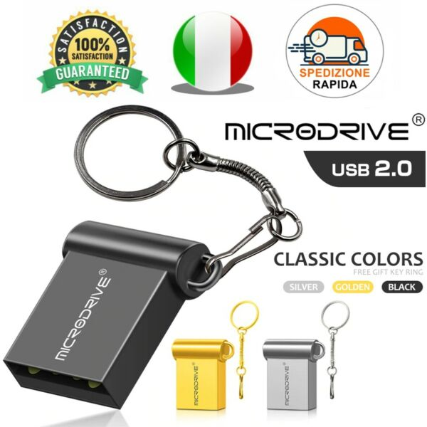 Pendrive Usb 2.0 Super Mini 16gb 32gb 64gb 128gb Chiavetta Metallo FlashDrive