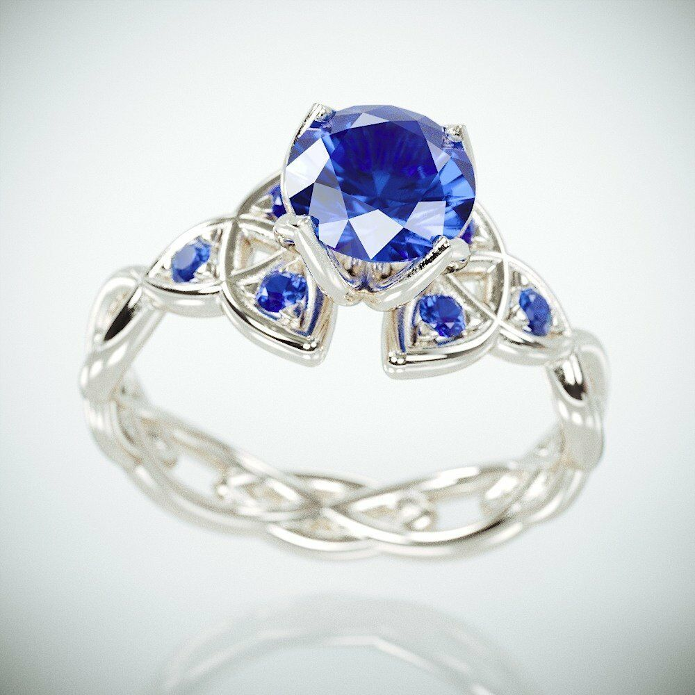 ac7dd8fdf28 Details about 2Ct Round Blue Tanzanite Trinity Knot Celtic Engagement Ring  14K White Gold Over