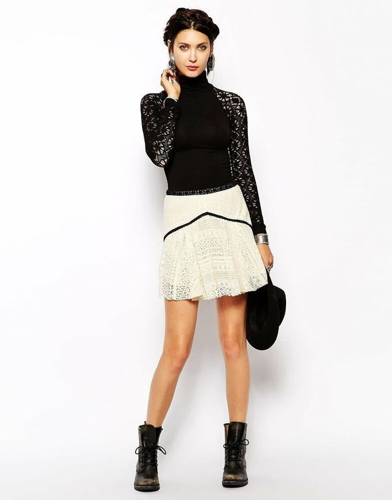 d28ee7cef116 Details about NWT Free People Circle Crochet Lace Boho Skater Mini Skirt  Ivory Black 6 $98