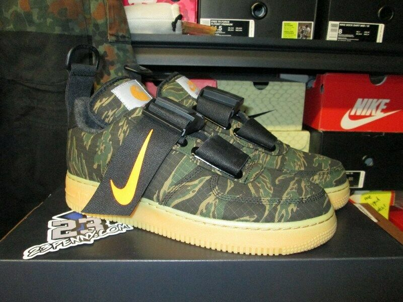 c2e9f6847404d Details about NEW NIKE AIR FORCE 1 LOW UTILITY CARHARTT WIP TIGER CAMO  GREEN GUM AV4112 300