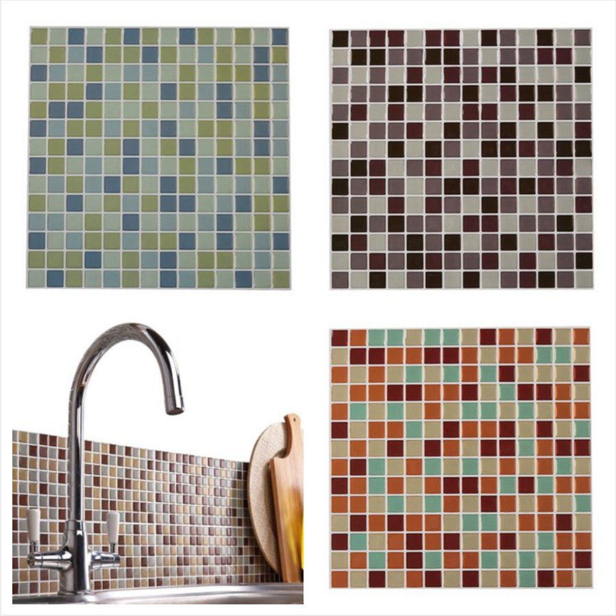 3D Self Adhesive Wall Tiles Large Mosaic Stick On Kitchen ...
