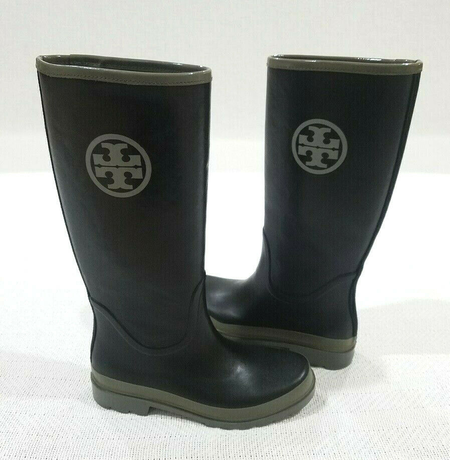 5ea395b9cd8 TORY BURCH BLACK W OLIVE GREEN TRIM TALL RUBBER RAIN BOOTS sz 9