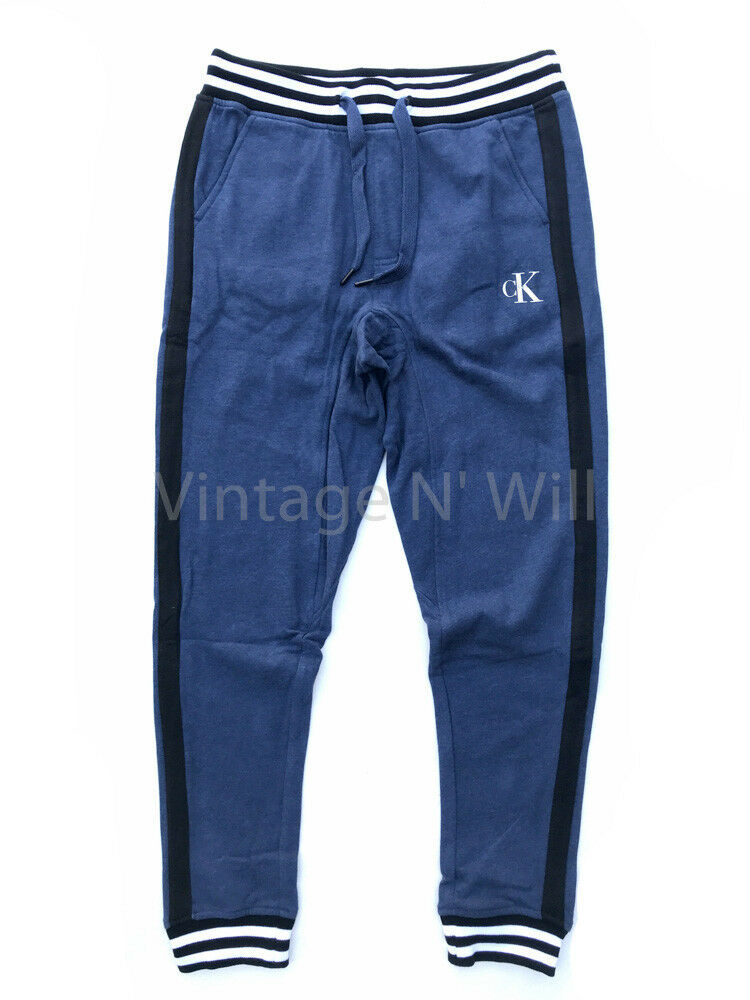 Details about Calvin Klein Mens Blue  Black  White Stripe CK Monogram  Sweatpants Jogger Sport dcc054cd98
