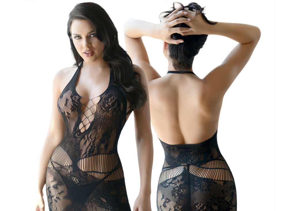 28f123c014 Women Sexy Lingerie Lacey Fishnet Halter Dress Baby Doll One Size  Bodystocking