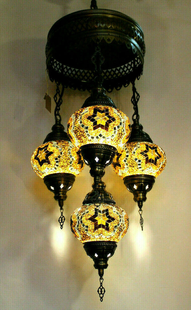 details about mosaic ceiling lamp turkish authentic handmade american wiring  multiple globes