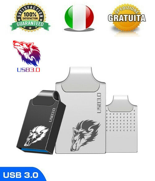 Pendrive Usb 3.0 Super Mini Metallo 16gb 32gb 64gb 128gb Chiavetta FlashDrive