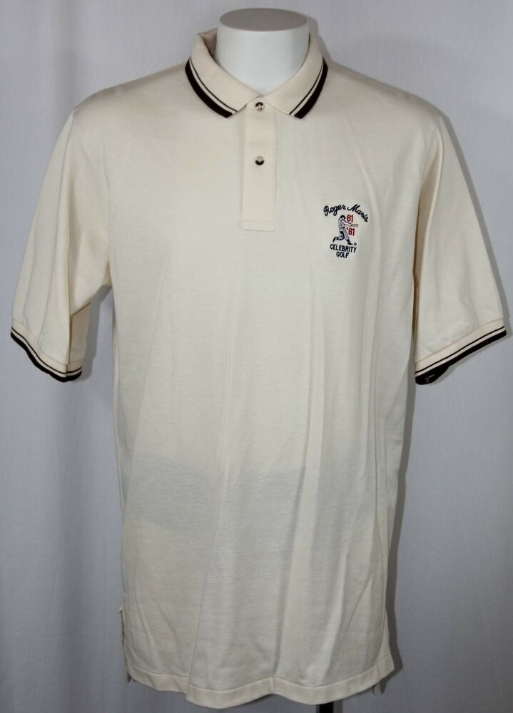 Details about NY Yankees Roger Maris Celebrity Golf Polo Shirt Cream  Embroidered Logo Men XL d8603cb59e5