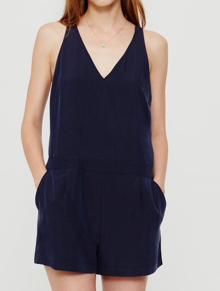 0e9114c6f51 Details about NWT Ann Taylor LOFT Lou   Grey Silkwash Romper Ink Navy Size S