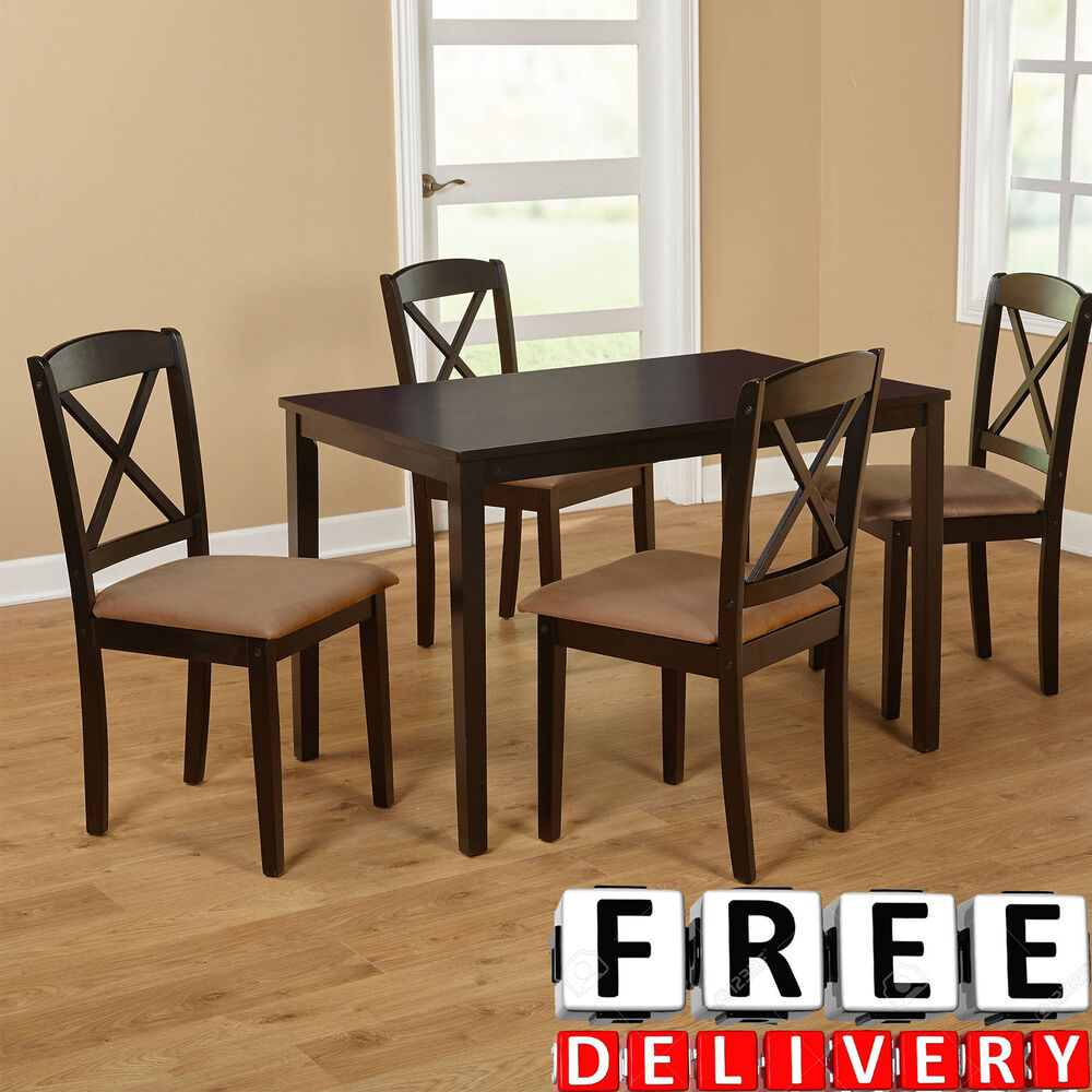 Details about dining table and chairs room 5 piece rubber wood modern contemporary kitchen set