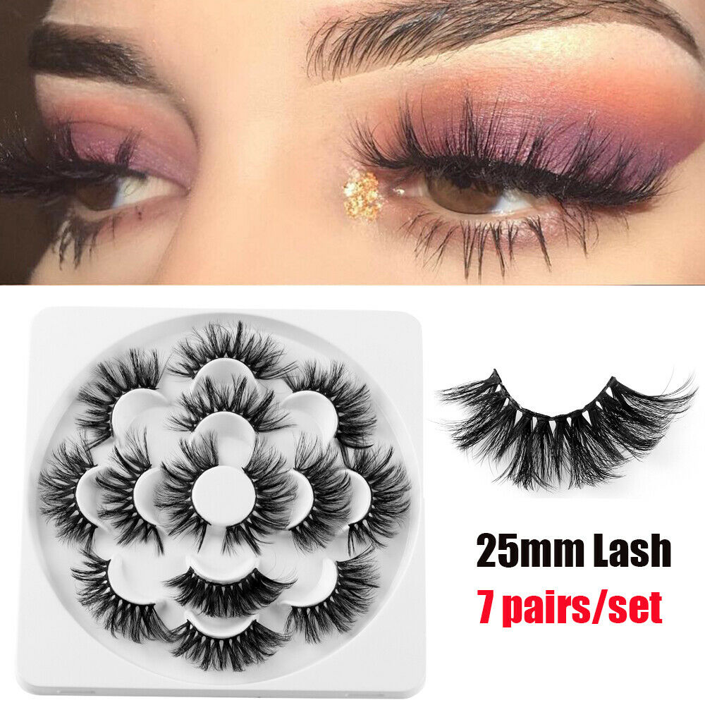 07f10a64fd8 Details about SKONHED 7 Pairs 6D Mink Hair False Eyelashes 25mm Lashes  Thick Wispy Fluffy Nice