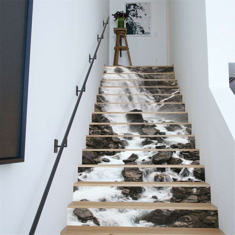 Details about 3d 13pcs waterfall house stairs risers photo mural decal sticker decor wallpaper