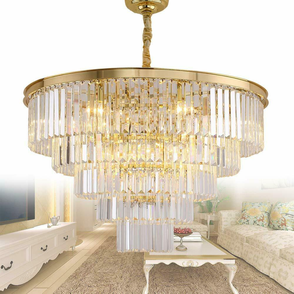 Details About Meelighting Gold Plated Modern Crystal Chandeliers Lighting Contemporary Pendant