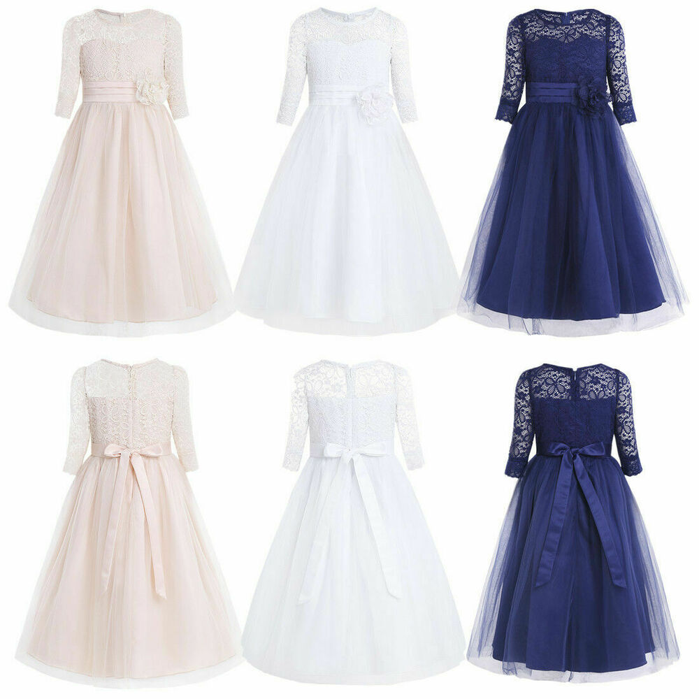 f274ef6e4057 Details about Kids Baby Girls Princess Dresses Lace Party Wedding Bridesmaid  Flower Girl Dress