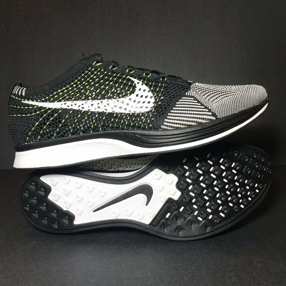 19c9d15df531 Details about Mens Size 13 Nike Flyknit Racer Running Shoes White Black  Oreo 🔥