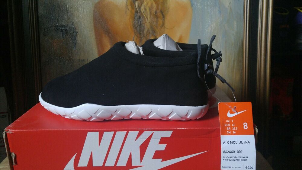 detailed look 61c87 40912 Nike Air Moc Ultra Size 8 Black Anthracite White 862440 001   eBay