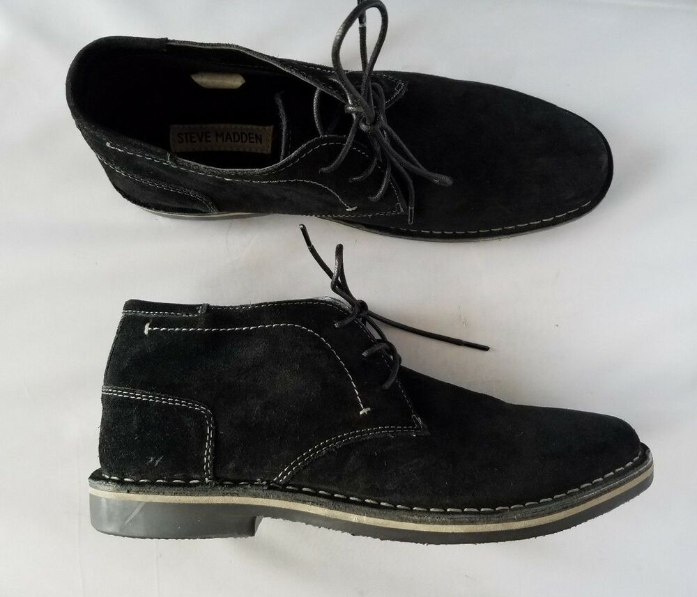 b1db314c7f8484 Details about NEW Steve Madden Hacksaw 015 Men's Shoes Black Suede Leather  Boots Loafers