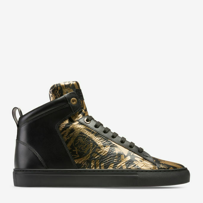 Details about MEN S PRINTED GOAT LEATHER HIGH TOP SNEAKER IN GOLD 19645e10491