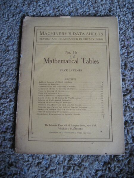 MACHINERY'S DATA SHEETS, No.16 Mathematical Tables, 1910