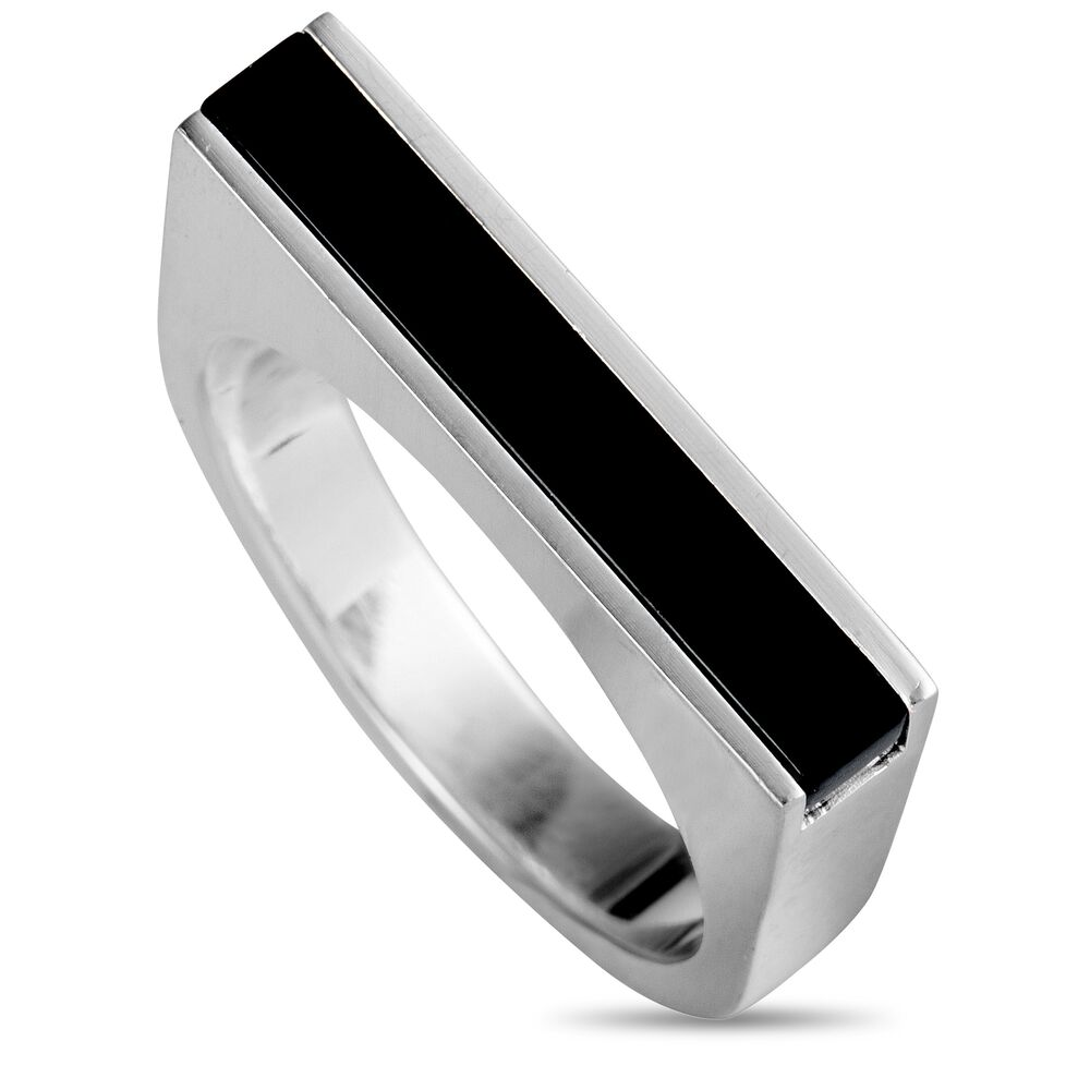 Details About Georg Jensen Aria Silver And Onyx Flat Band Ring