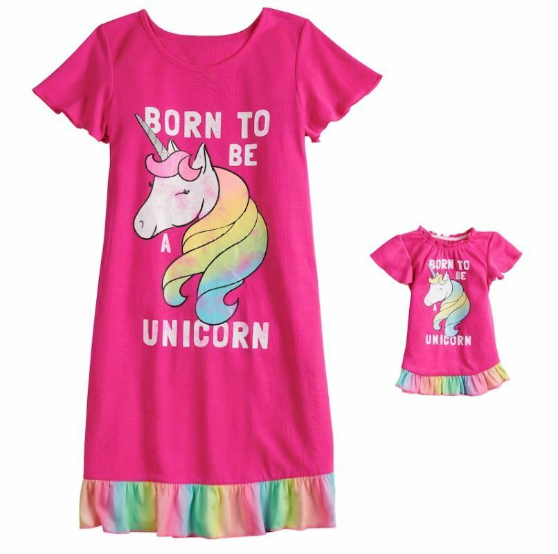 6da54104e4 Details about Girl 4-14 and Doll Matching Unicorn Nightgown Clothes ft  American Girl Dollie Me