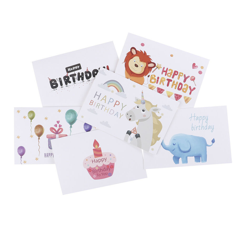 Details About 6pcs Set Thank You Cards Birthday Card For Kids Note With Envelopes BH