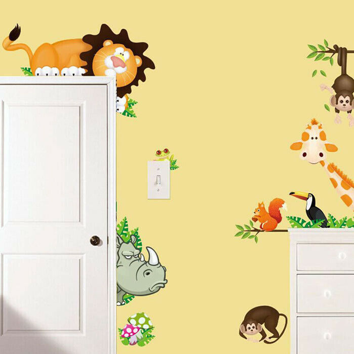 Details About Kids Room Wall Sticker Jungle Animal Theme Decal Home Decorating  Stickers