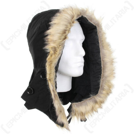 img-US M51 Parka Hood with Faux Fur - Black America Army Military Repro New