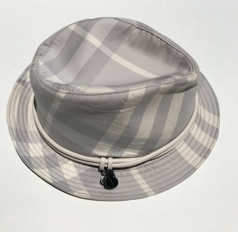 8847202f07d Details about Burberry Gray Grey White Nova Check Fedora Hat Heart Charms  Leather Trim