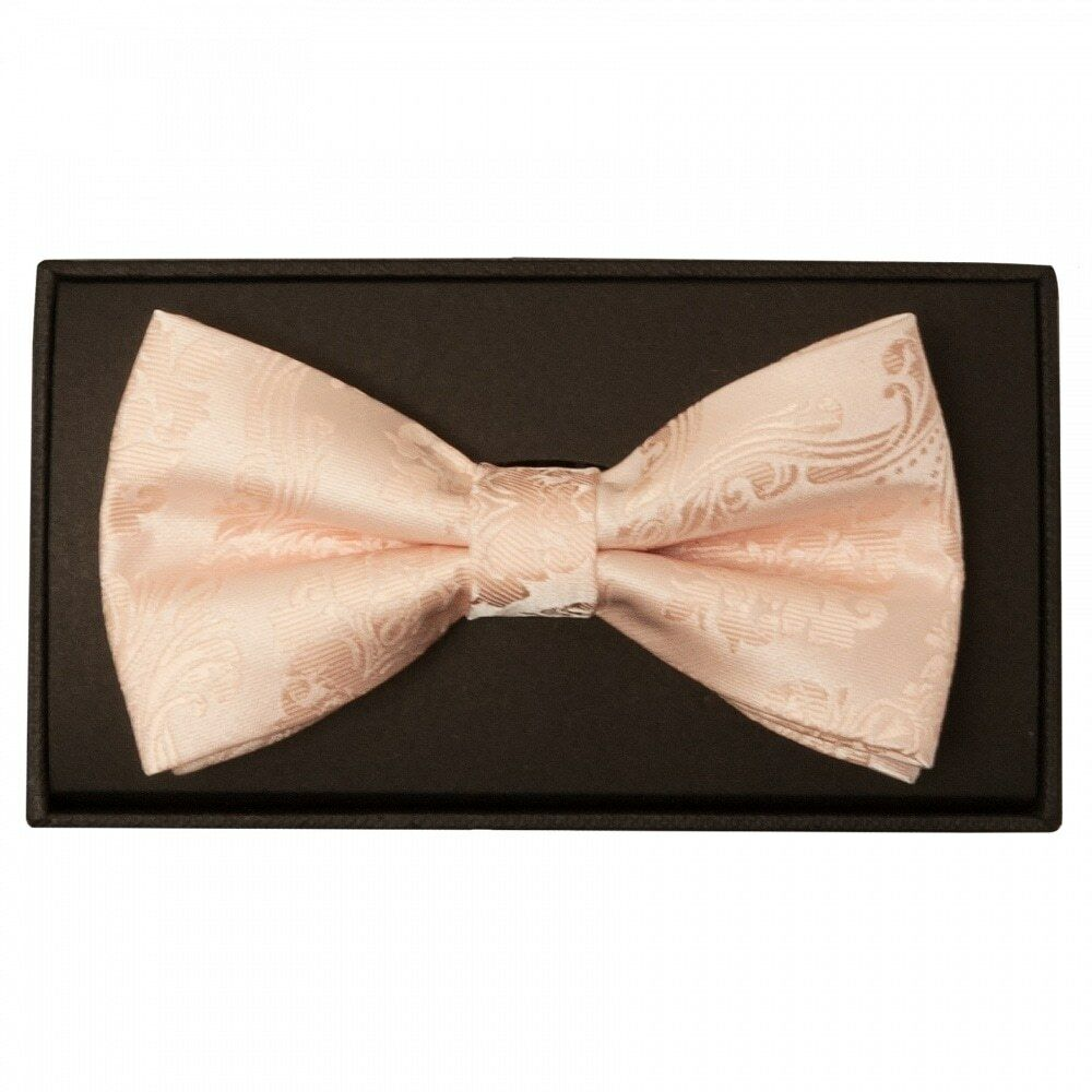 aa2d09eec876 Details about Handmade Light Peach Paisley Mens Bow Tie pre Tied Dickie Bow  Wedding Bow Tie