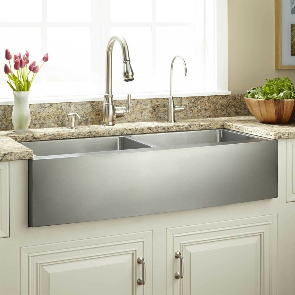 33 Modern Farmhouse Sink 50 50 Double Bowl Brushed Stainless Steel