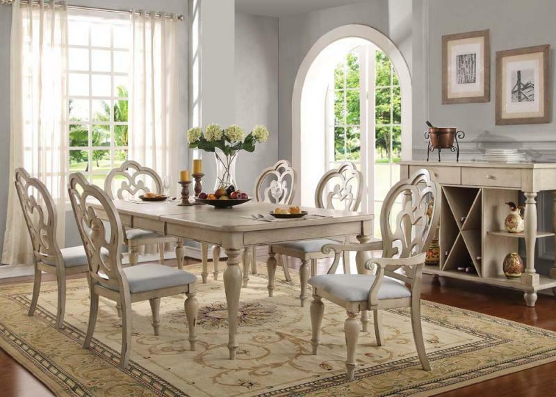 Acme Furniture Abelin 7 Piece Antique White Finish Dining Room Table ...