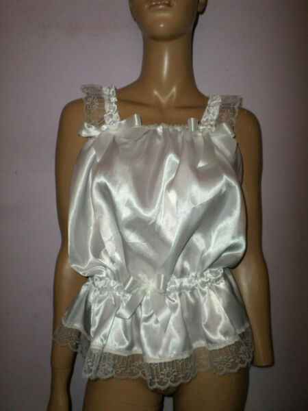 WHITE  SATIN CAMSOLE TOP  LACE TRIM & BOWS 35-50