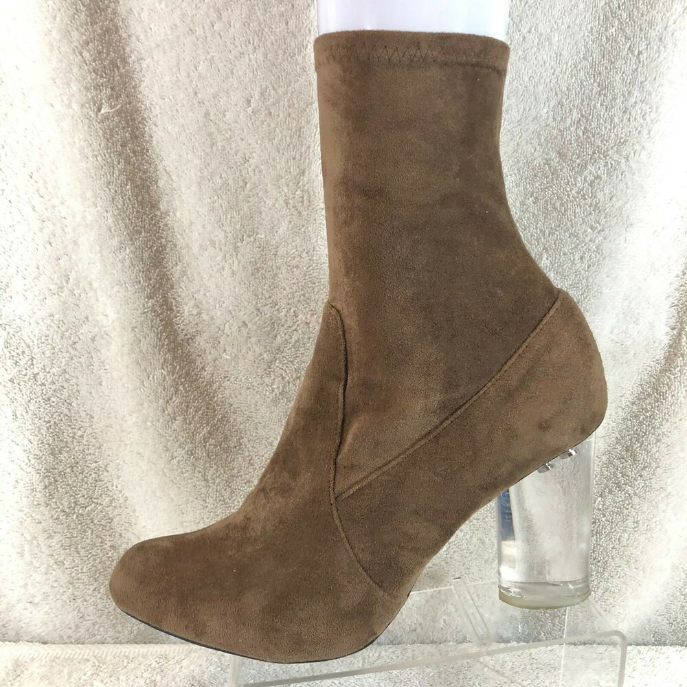 Details about Jeffrey Campbell Brown Microfiber Lucite Clear Heel Ankle  Boots Women s 11