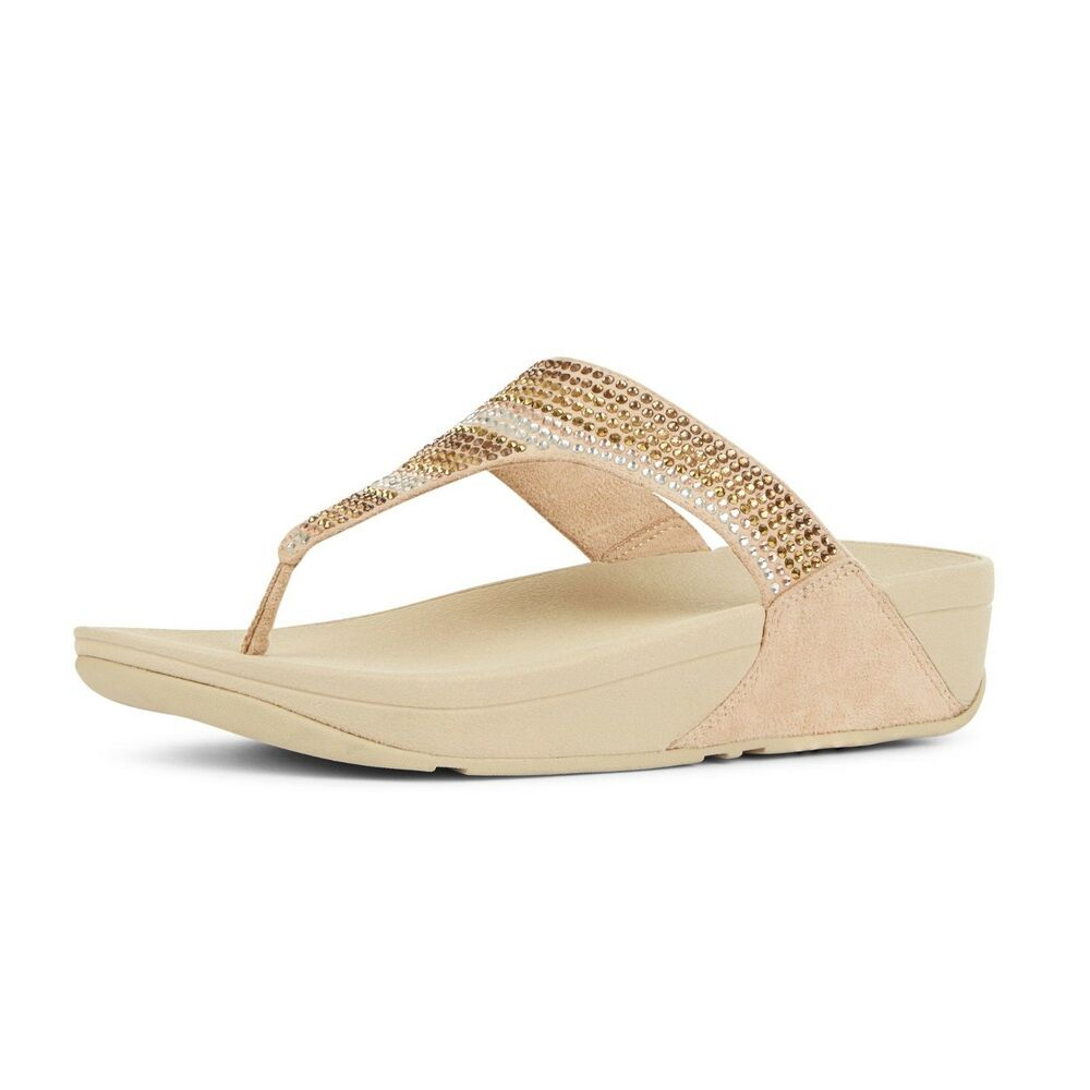 a9587b682 Details about NWT FitFlop  Strobe Luxe Embellished Wedge Thong Sandal   Size 8