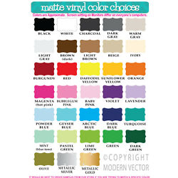 Modern Vector Color Swatch, Vinyl Wall Decal Lettering Sample Color Swatch