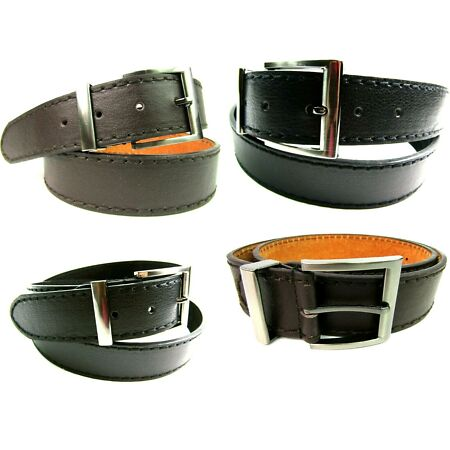 img-Mens Quality Real Leather Belt Strong Brown Leather Belt Gun Metal Buckle 1.5