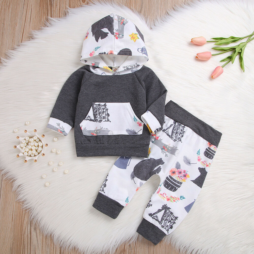 8aea2b2ef Details about 2pcs Newborn Toddler Infant Baby Boy Girl Hooded Tops+Pants  Outfits Clothes Set