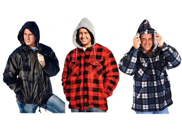 MENS HOODED LUMBERJACK JACKET COAT WORK SHIRT FLEECE REVERSIBLE CHECK SIZE S-XL