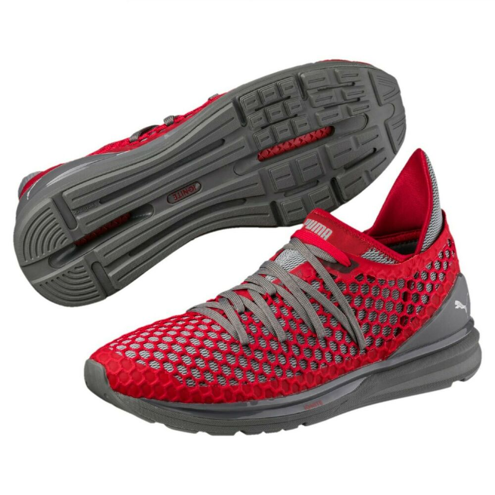 cd86d2641f13 Details about Puma Mens Ignite Limitless Netfit Red Gray Running Shoes Size  US 11 EUR 44