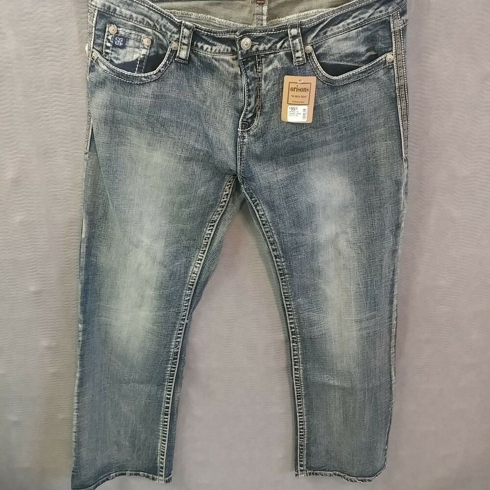 0b0ae1ea Details about NWT Cowgirl Up Womens Jeans 33 X 34 Don't Fence Me In  Mid-Rise Original Bootcut