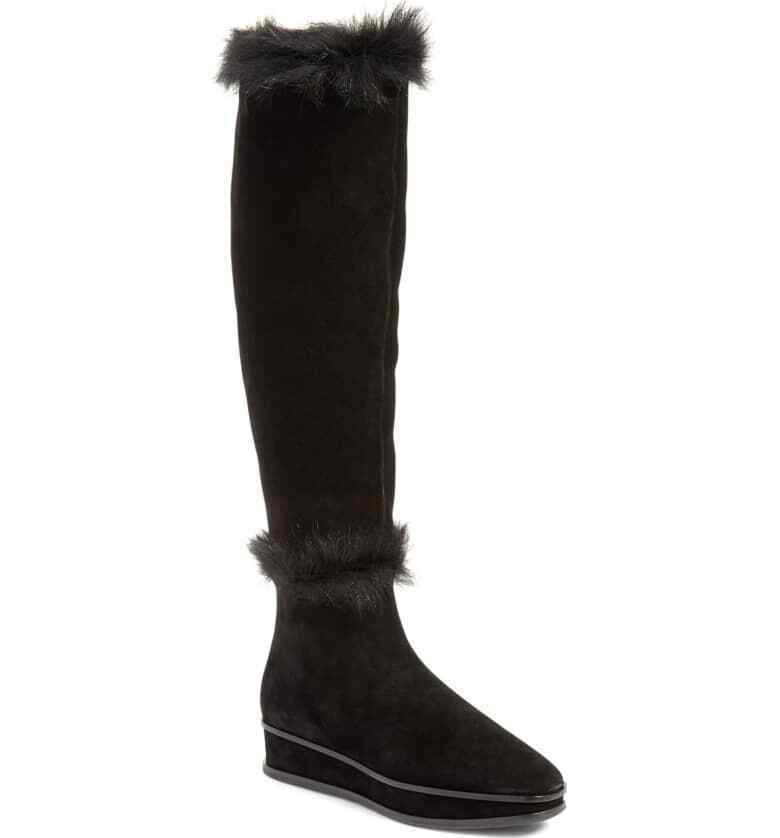 072c267b9 Details about Tory Burch Marcel Genuine Shearling Fur Lined Wedge Tall Knee  Booties 6.5